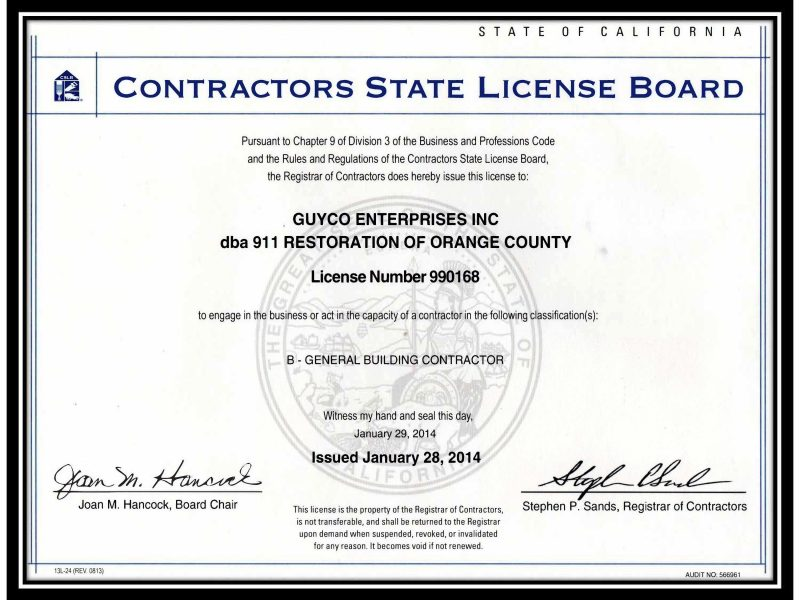 911 Restoration of Orange County cslb_cert_contractor_license