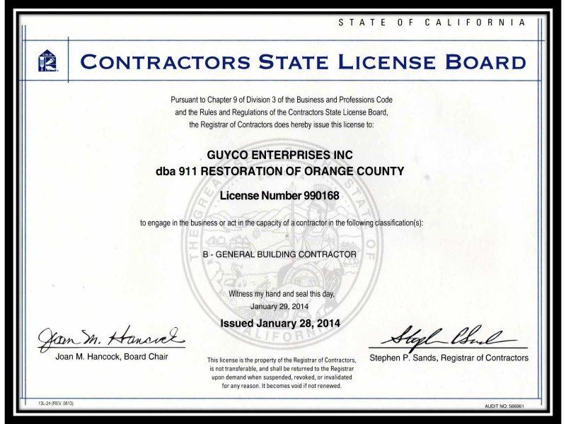 911 Restoration of Orange County cslb_cert_contractor_license