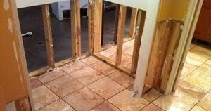 Water and Mold Damage Restoration On First Floor Bathroom